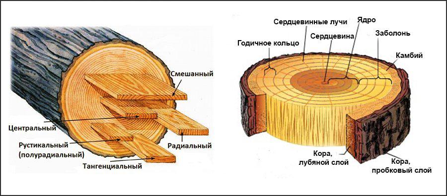 Пример распила древесины евроокон