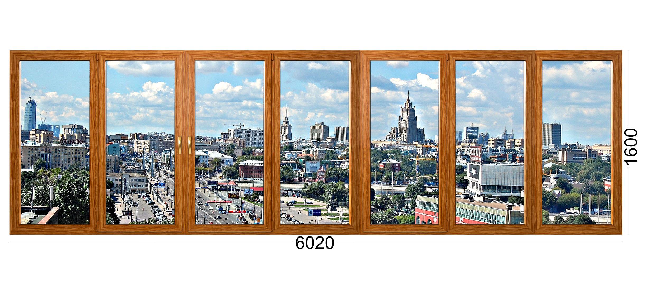 Лоджия или балкон из 6 створок для дома серии 1605/9 или 1605 9 - деревянные окна