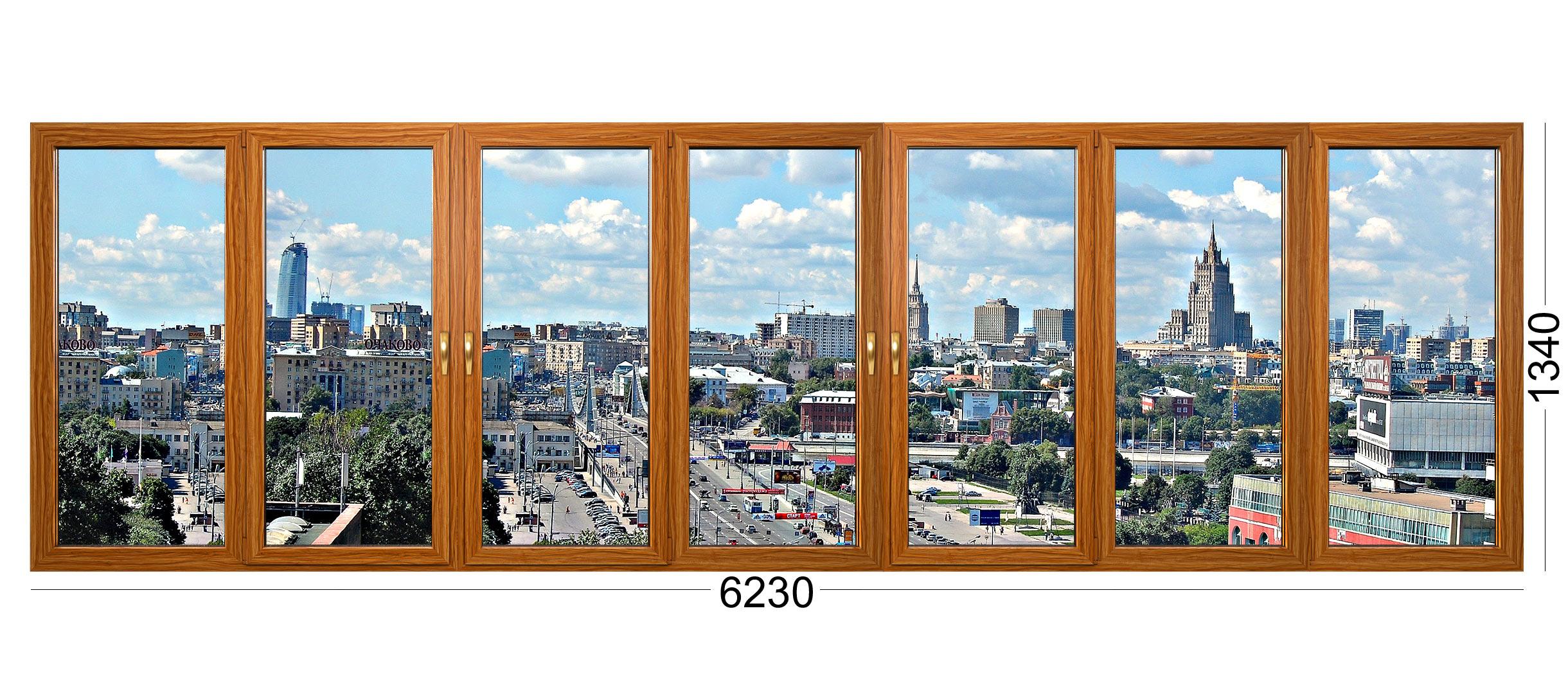 Огромная лоджия в доме панельном серии ii-68-3 в Москве. Деревянные окна