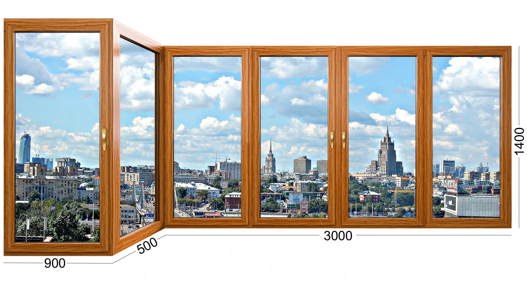 Длинная лоджия (балкон) в панельном доме серии И-155. Остекление деревянными окнами от ИНВУД Москва