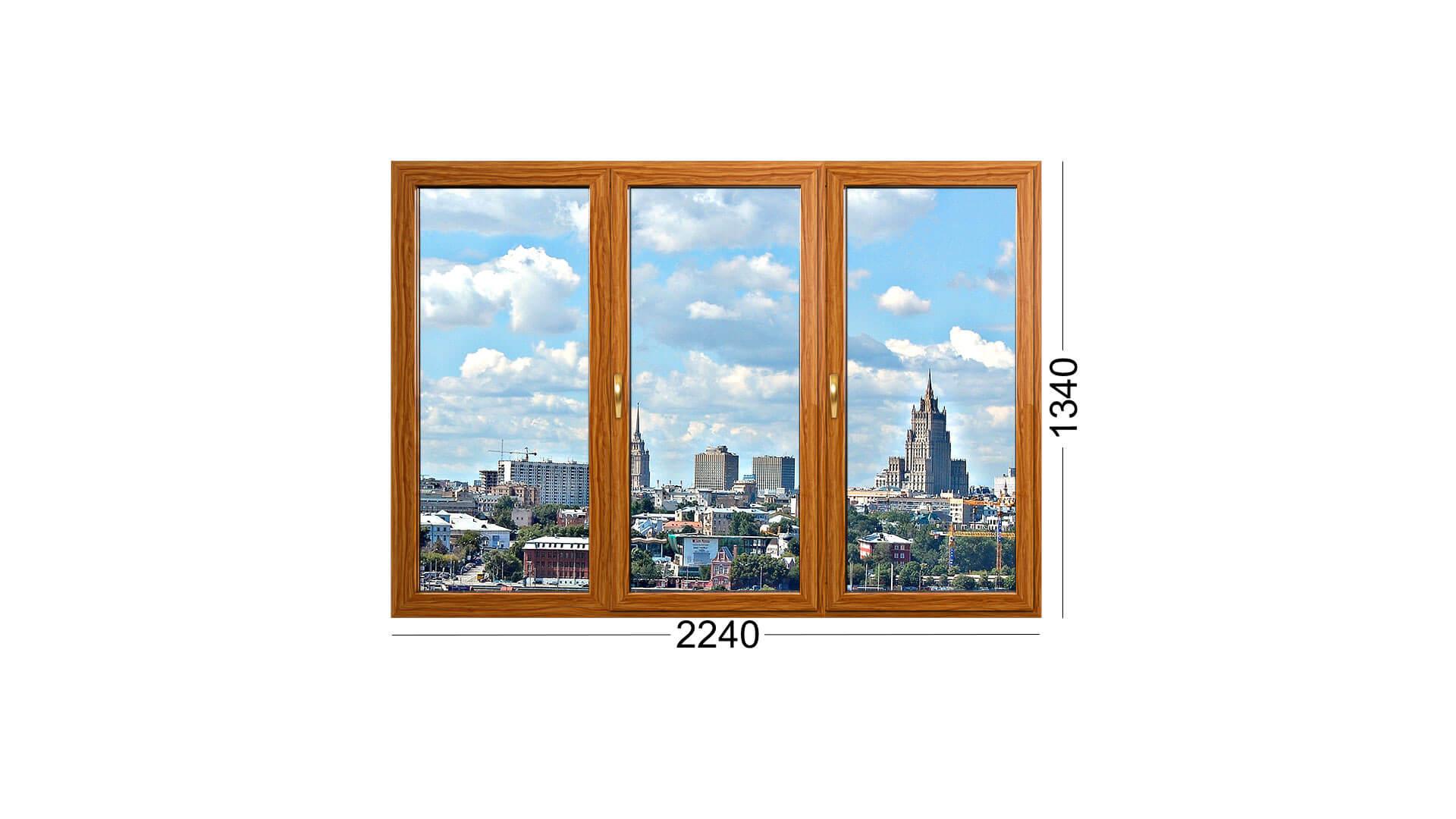 окно деревянное в лоджии дома И-522 с тремя створками, остекление от Инвуд в Москве