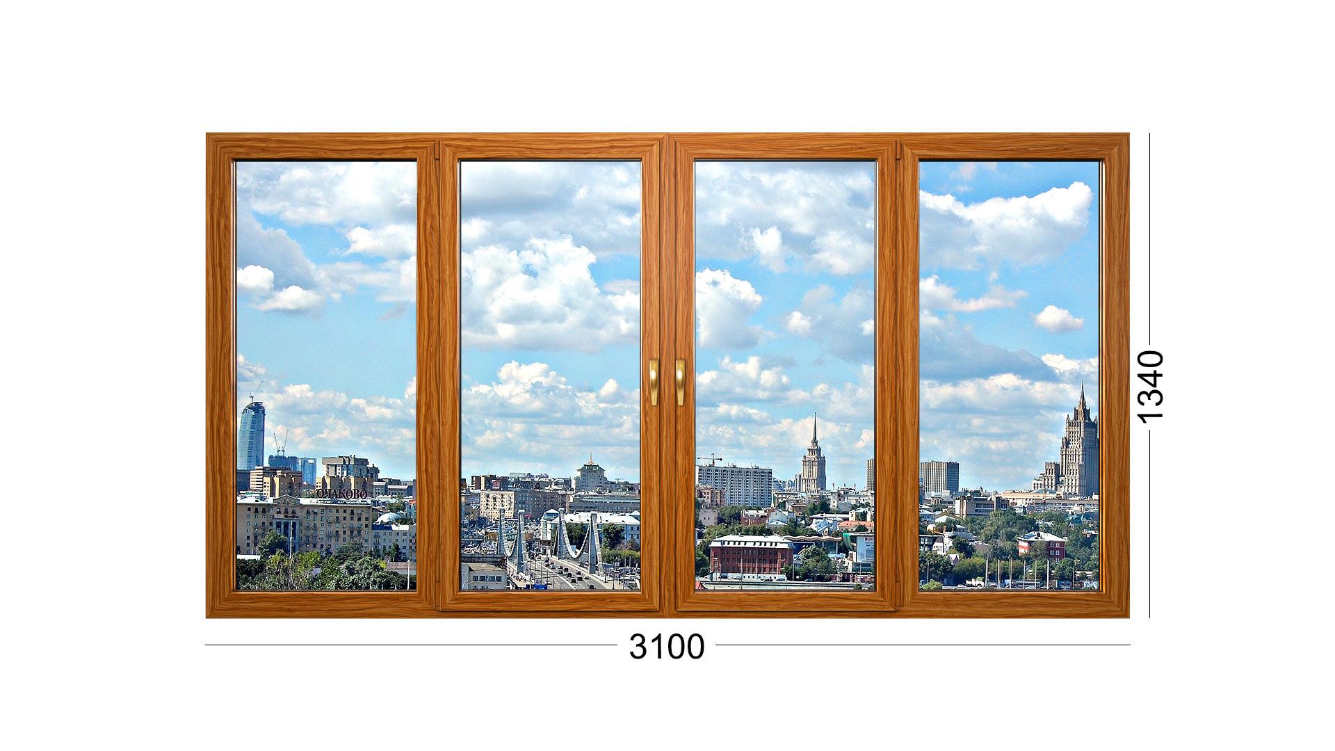 Лоджия из 4 створок для дома серии И-700А, деревянные стеклопакеты и рама. Окна от Инвуд