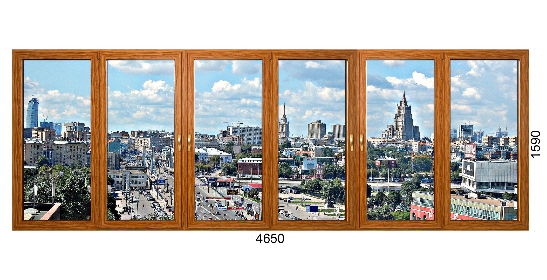 Лоджия окна из дерева дома серии Башня Тишинская в Москве. Фото