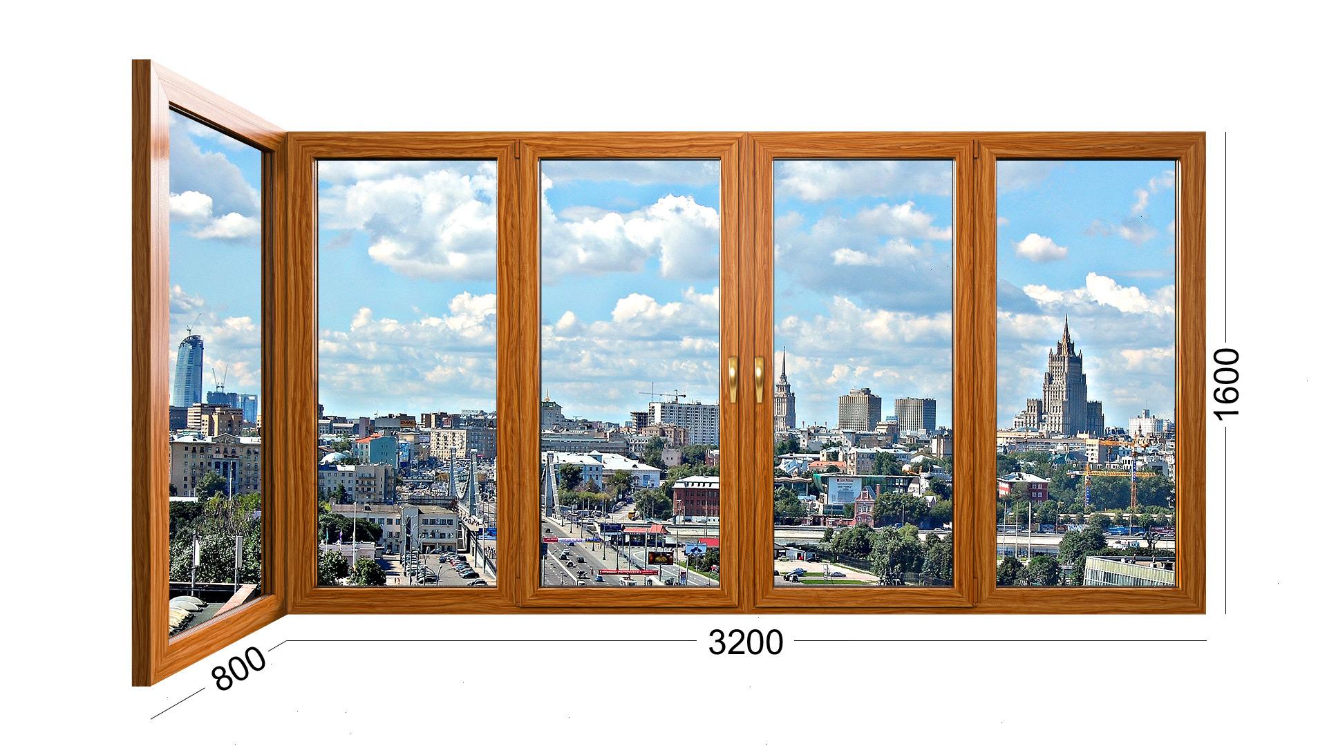 Угловое деревянное окно для лоджии или балкона в доме серии ii-18. Фото