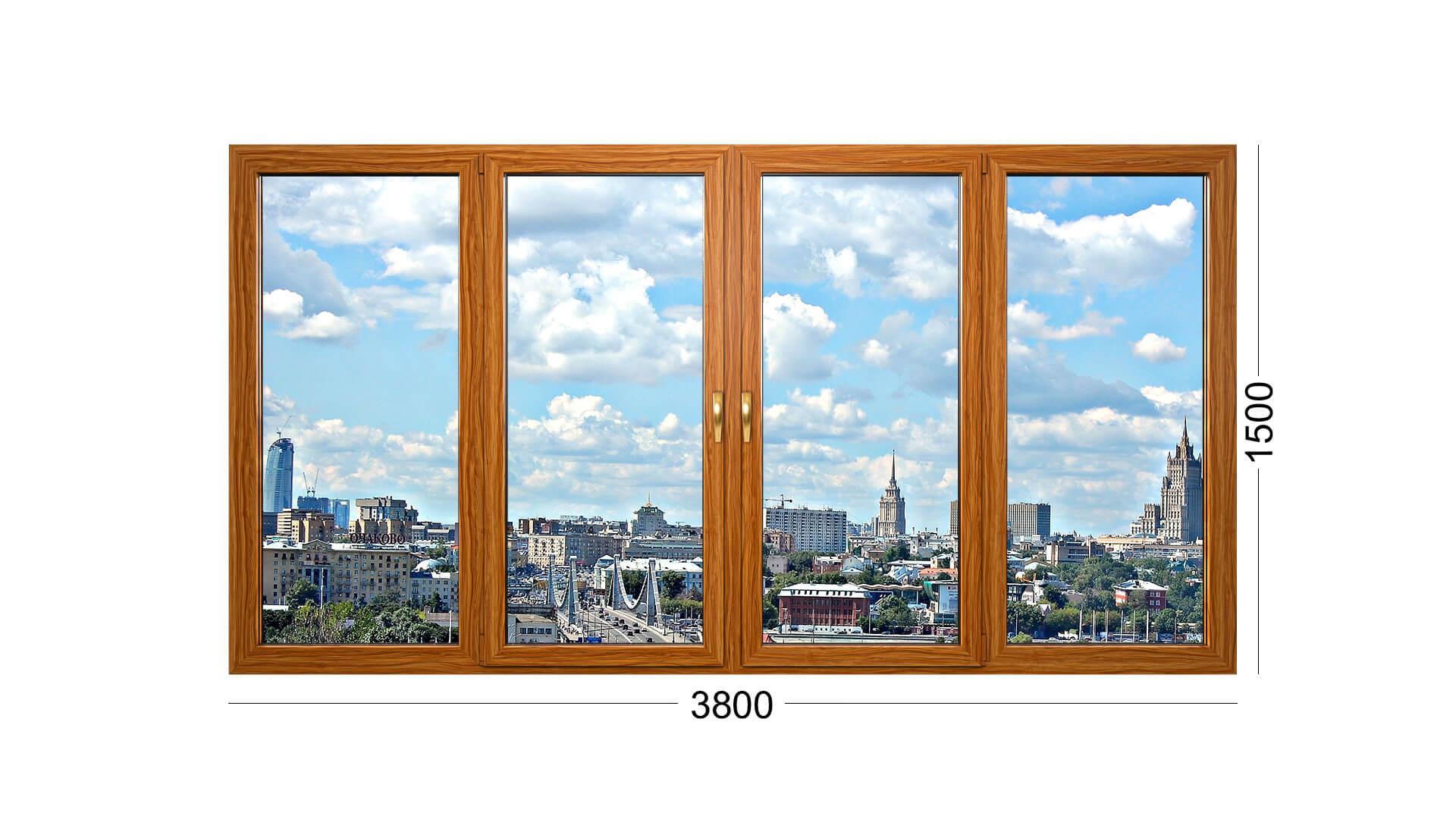 4 створки лоджии дома П 43. Деревянные окна - остекление лоджии ИНВУД Москва
