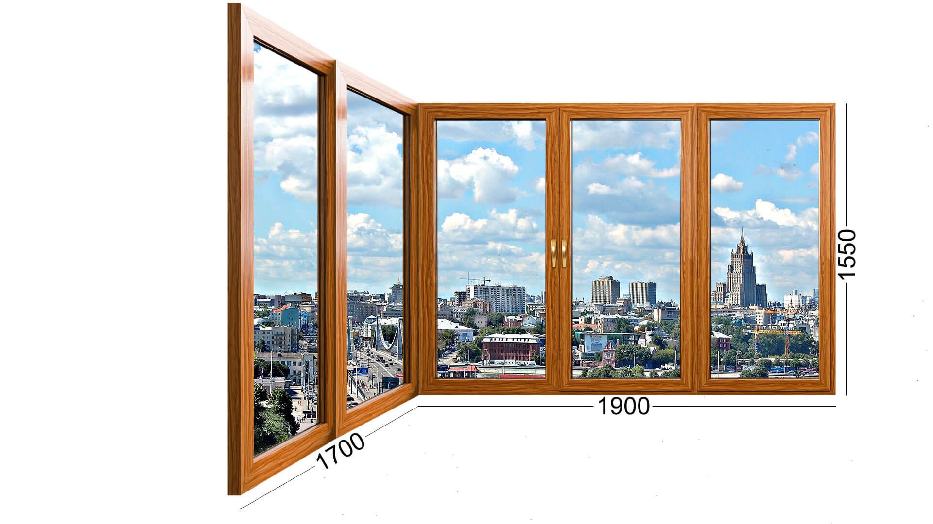 Фото угловой конструкции окна, деревянное окно. В панельный дом серии П-44