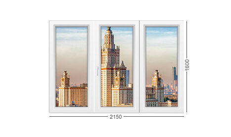 Лоджия дома серии 1605/12 с 3 створками окон из ПВХ - фото конструкции