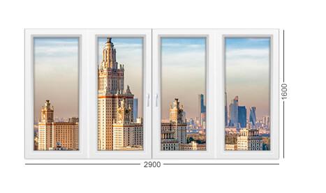 Фото окна ПВХ из профиля Рехау - белого. Для дома серии 1605/12