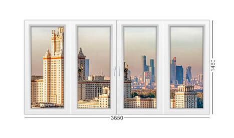 Окно 4 створки башня Тишинская в Москве, конструкция и описание из ПВХ рехау