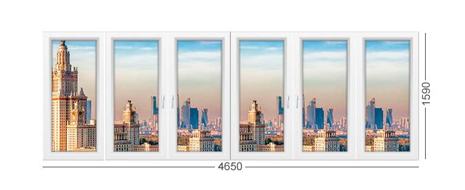 Окно башня Смирновская лоджия, остекление ПВХ, белое окно.