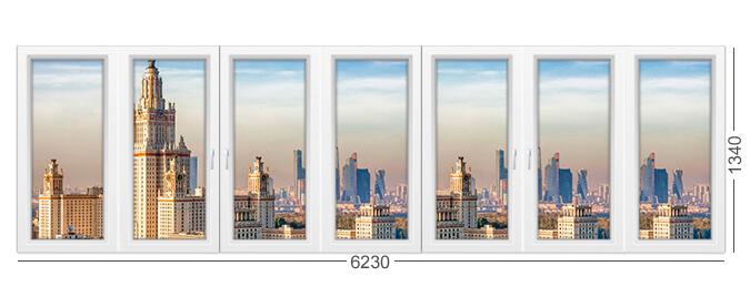Большая лоджия в доме И700А, 7 створок, фото конструкции окна из окон ПВХ, расчет стоимости
