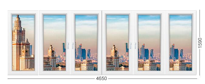 Окна лоджии дома серии Башня Тишинская в Москве, белая лоджия ПВХ