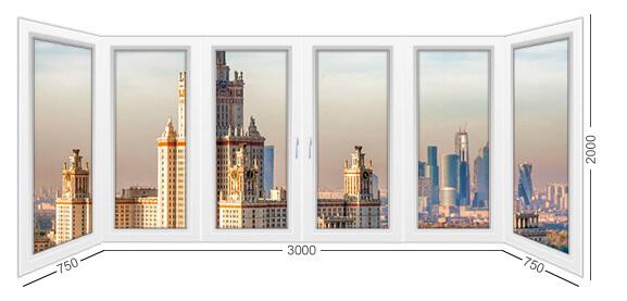 П-образный балкон в Сталинке, конструкция балкона, белый, из ПВХ профиля Рехау.